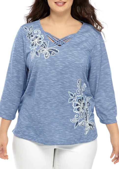 Alfred Dunner Plus Size Asymmetrical Floral Knit Top