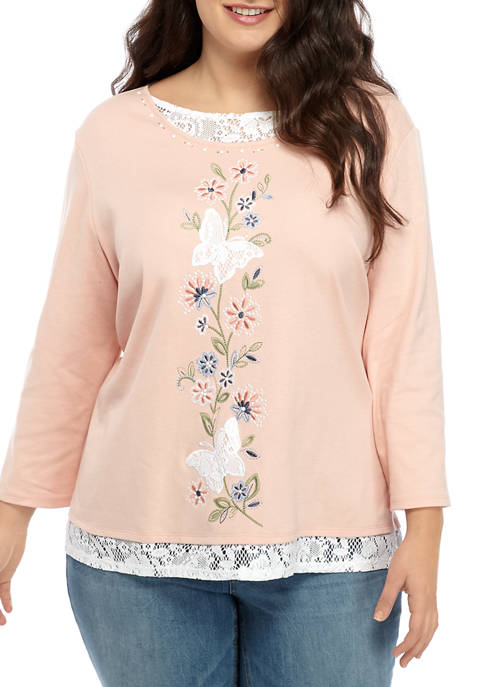 Alfred Dunner Plus Size Double Layer Middle Butterfly