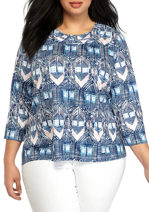 Alfred Dunner Plus Size Diamond Ikat Blouse