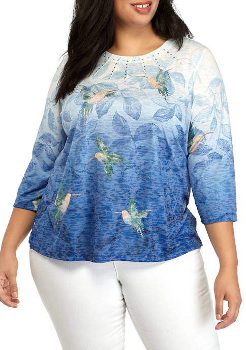 Alfred Dunner Plus Size Hummingbird Ombre Knit Blouse