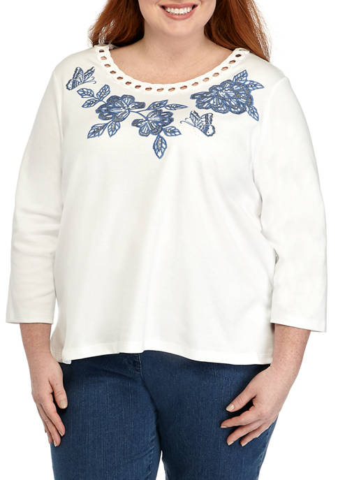 Alfred Dunner Plus Size Pullout Yoke Embroidered Top