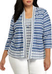 Plus Size Stripe Knit 2fer Top with Necklace