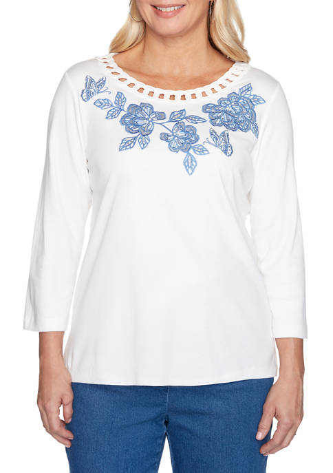 Alfred Dunner Petite Pearls of Wisdom Cutout Embroidered