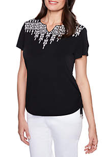 Upper East Side Diamond Embroidered Blouse