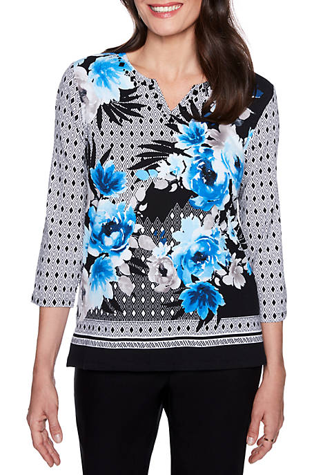 Alfred Dunner Upper East Side Text Floral Knit