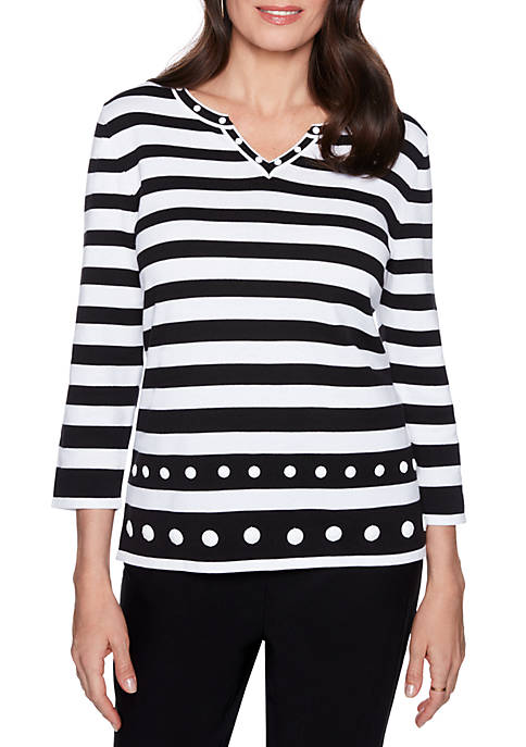 Alfred Dunner Upper East Side Stripe Sweater