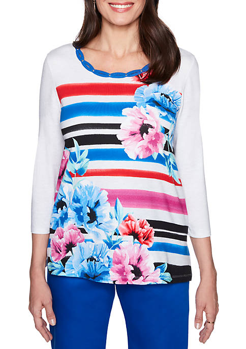 Alfred Dunner Stripe Floral Knit Top