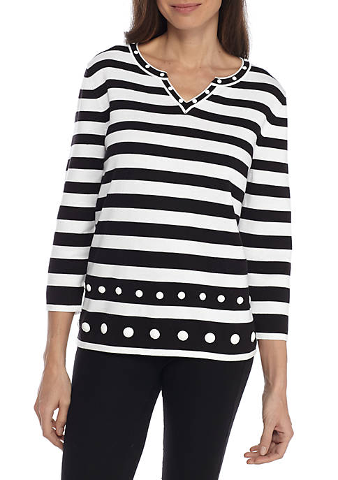 Alfred Dunner Upper East Side Striped Sweater