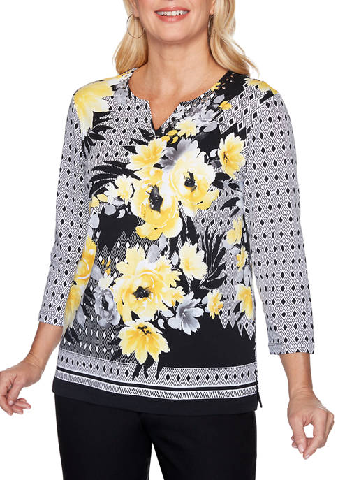 Womens Riverside Drive Floral Geometric Knit Top