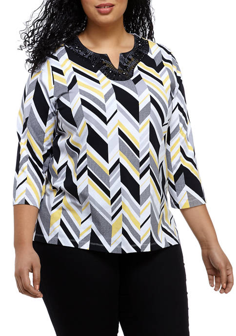 Alfred Dunner Plus Size Chevron Embellished Split Neck