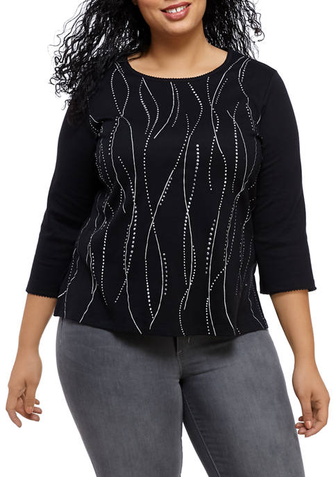 Alfred Dunner Plus Size Swirl Embroidered Knit Shirt