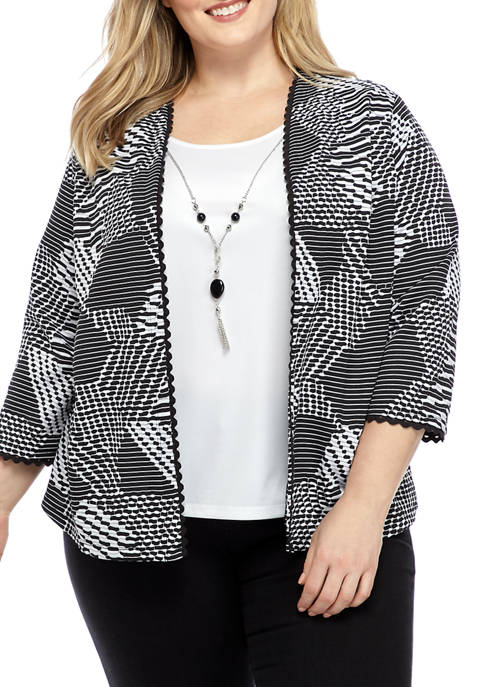 Alfred Dunner Plus Size Jacket Blouse with Detachable
