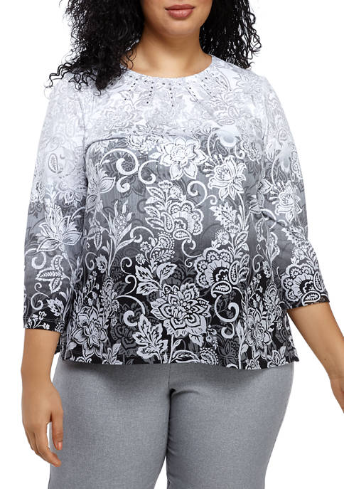 Plus Size Ombre Scroll Knit Top
