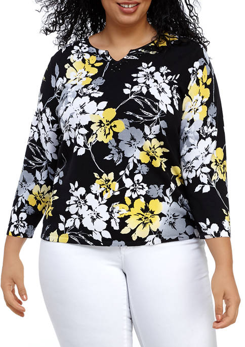 Plus Size Floral Sweater