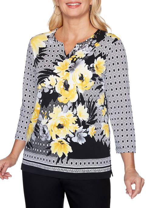Petite Riverside Drive Floral Geometric Knit Top