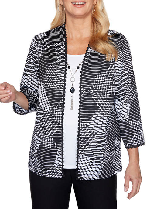 Petite Riverside Drive Textured 2Fer Top with Necklace