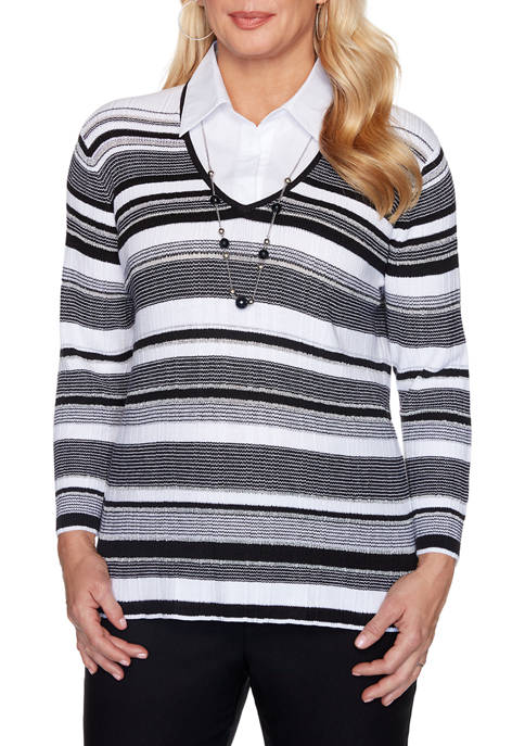 Petite Riverside Drive Striped 2Fer with Necklace