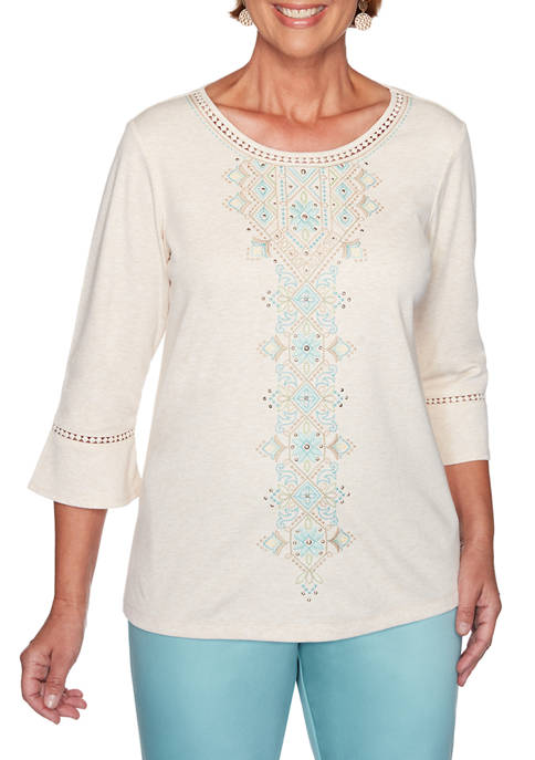 Alfred Dunner Womens Embroidered Knit T-Shirt
