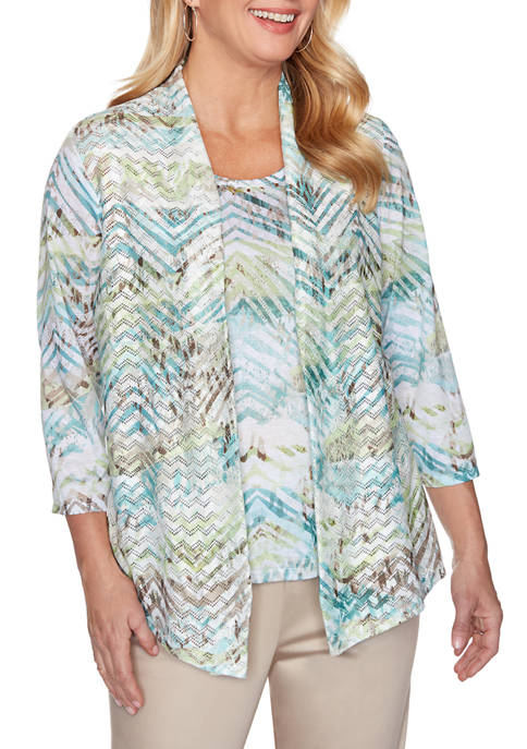 Alfred Dunner Womens Textured Tunic Top