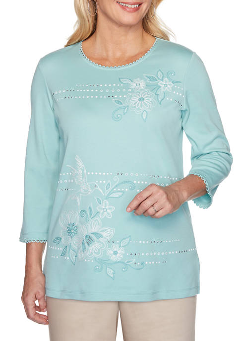 Womens Hummingbird Floral Knit T-Shirt