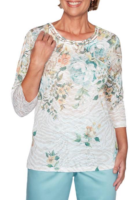 Alfred Dunner Womens Floral Yoke Knit T-Shirt