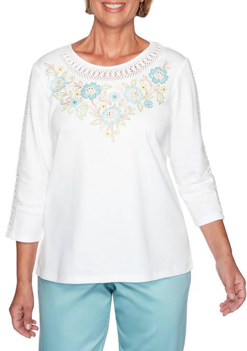 Alfred Dunner Womens Embroidered Yoke Knit T-Shirt