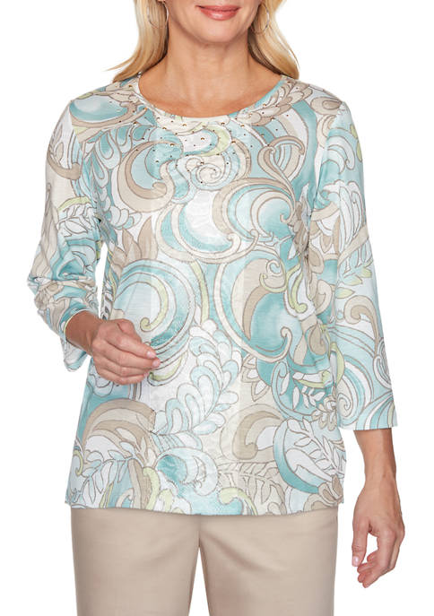 Alfred Dunner Womens Scroll Center Lace Top