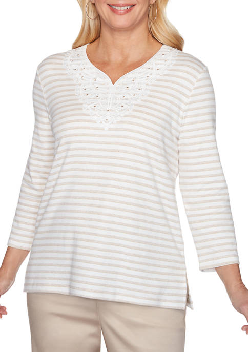 Alfred Dunner Womens Stripe Knit Top