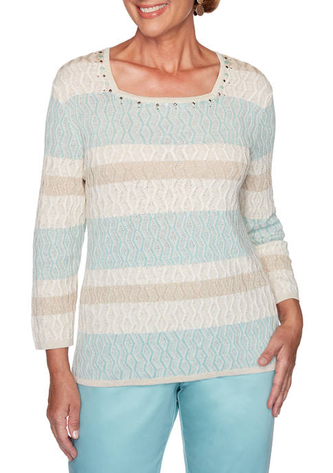 Alfred Dunner Womens Biadere Textured Sweater