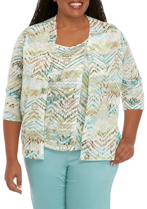 Alfred Dunner Plus Size Textured Knit 2Fer Top
