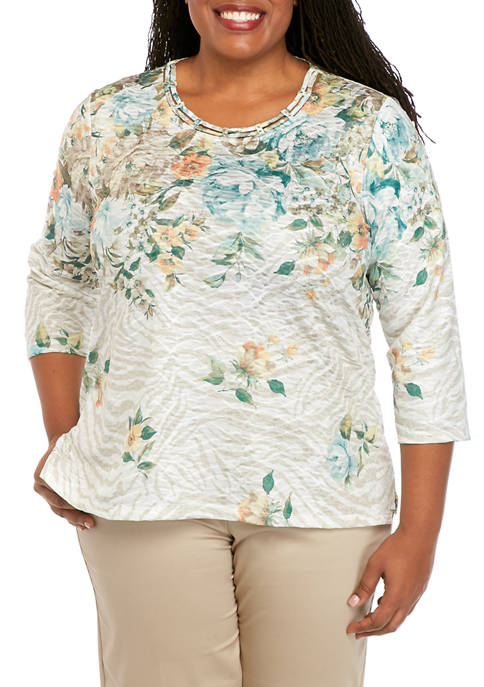 Alfred Dunner Plus Size Cottage Charm Floral Yoke