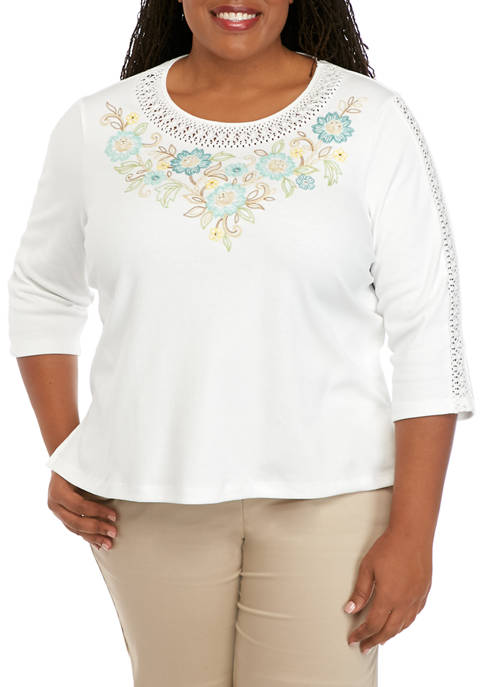 Plus Size Cottage Charm Embroidered Yoke Top