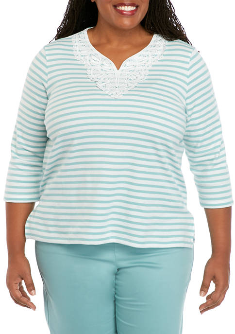 Alfred Dunner Plus Size Embroidered Stripe Knit Top