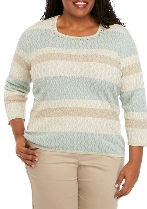 Alfred Dunner Plus Size Stripe Texture Sweater