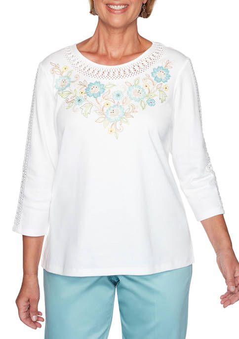 Petite Embroidered Yoke Knit Top