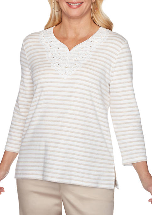 Alfred Dunner Petite Stripe Knit Top