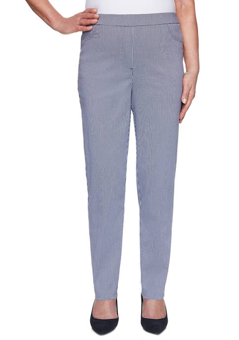 Womens Easy Street Proportioned Medium Gingham Pants