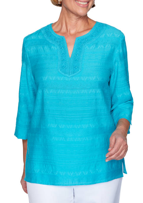 Womens Lace Neck Tunic