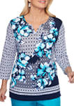 Womens Floral and Geometric Print Top