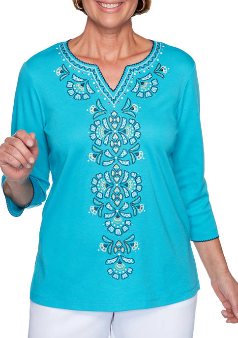 Womens Embroidered Front Solid Knit Top