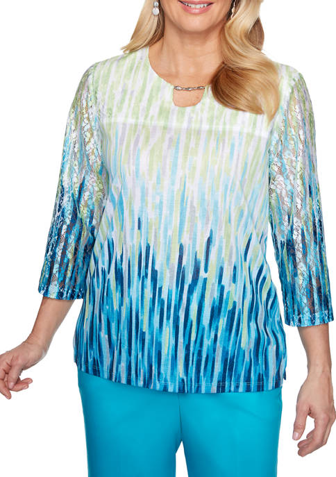 Womens Easy Street Ombre Textured Knit Top