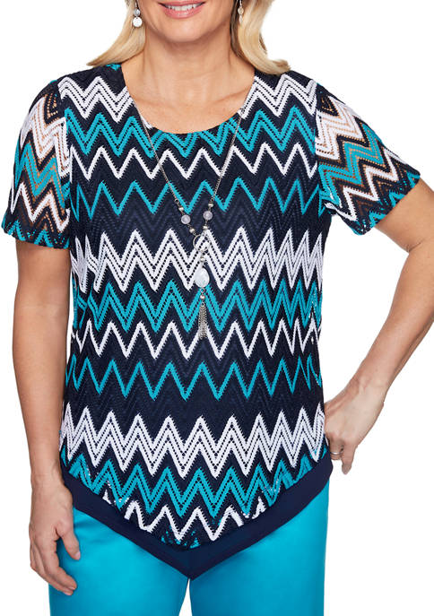 Womens Easy Street Chevron Top with Necklace