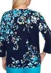 Womens Easy Street Trellis Print 3/4 Sleeve Top