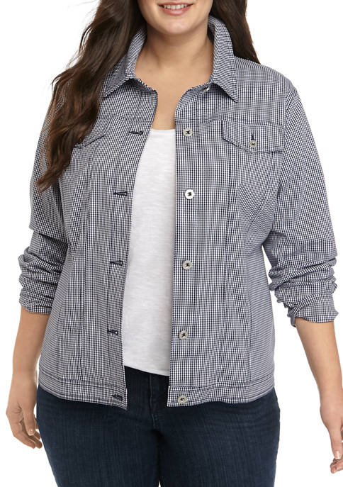 Alfred Dunner Plus Size Allure Gingham Jacket