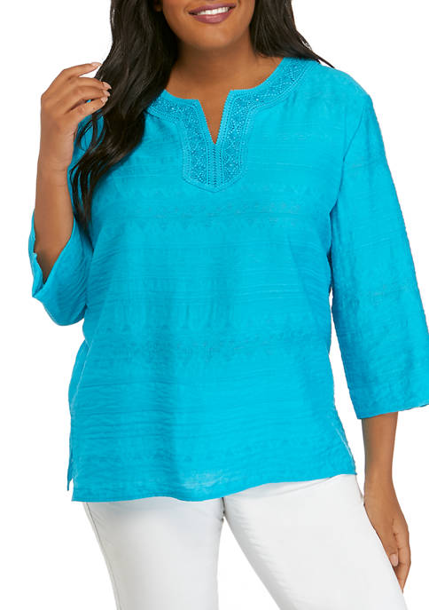 Alfred Dunner Plus Size 3/4 Sleeve Lace Tunic