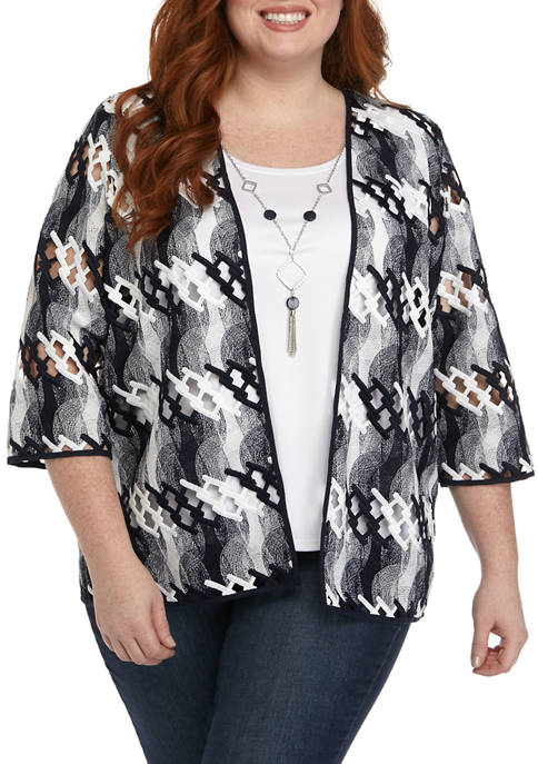 Alfred Dunner Plus Size 3/4 Sleeve Lattice 2Fer