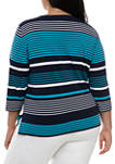 Plus Size Easy Street 3/4 Sleeve Stripe T-Shirt