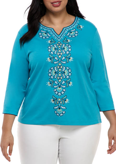 Alfred Dunner Plus Size Easy Street 3/4 Sleeve