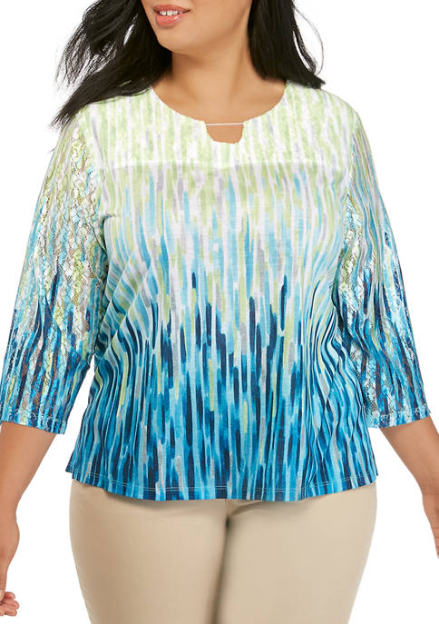 Alfred Dunner Plus Size 3/4 Sleeve Ombre Texture