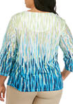 Plus Size 3/4 Sleeve Ombre Texture Top
